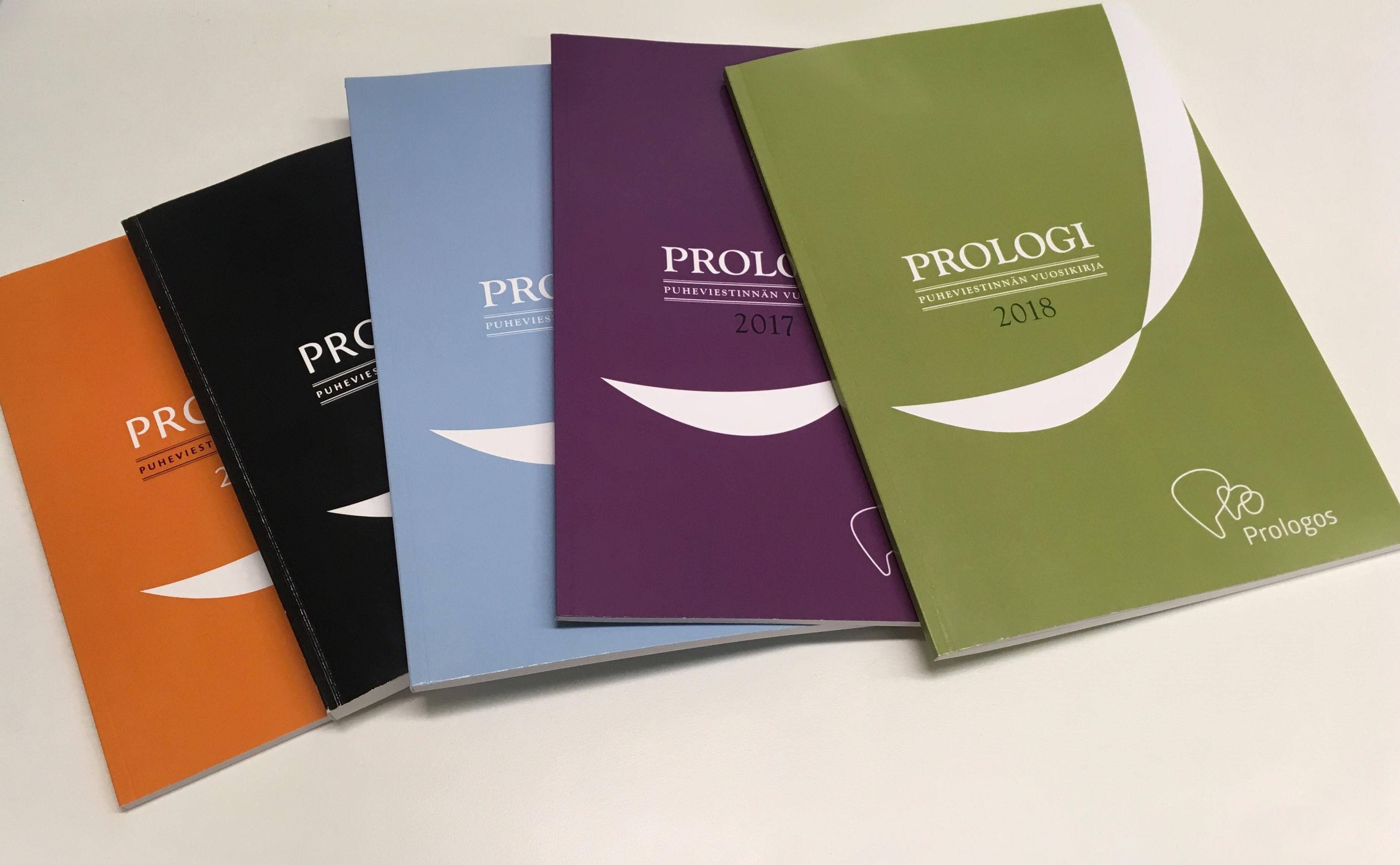 Kuvassa Puheviestinnän vuosikirja Prologi, joka ilmestynyt vuodesta 2005 alkaen.