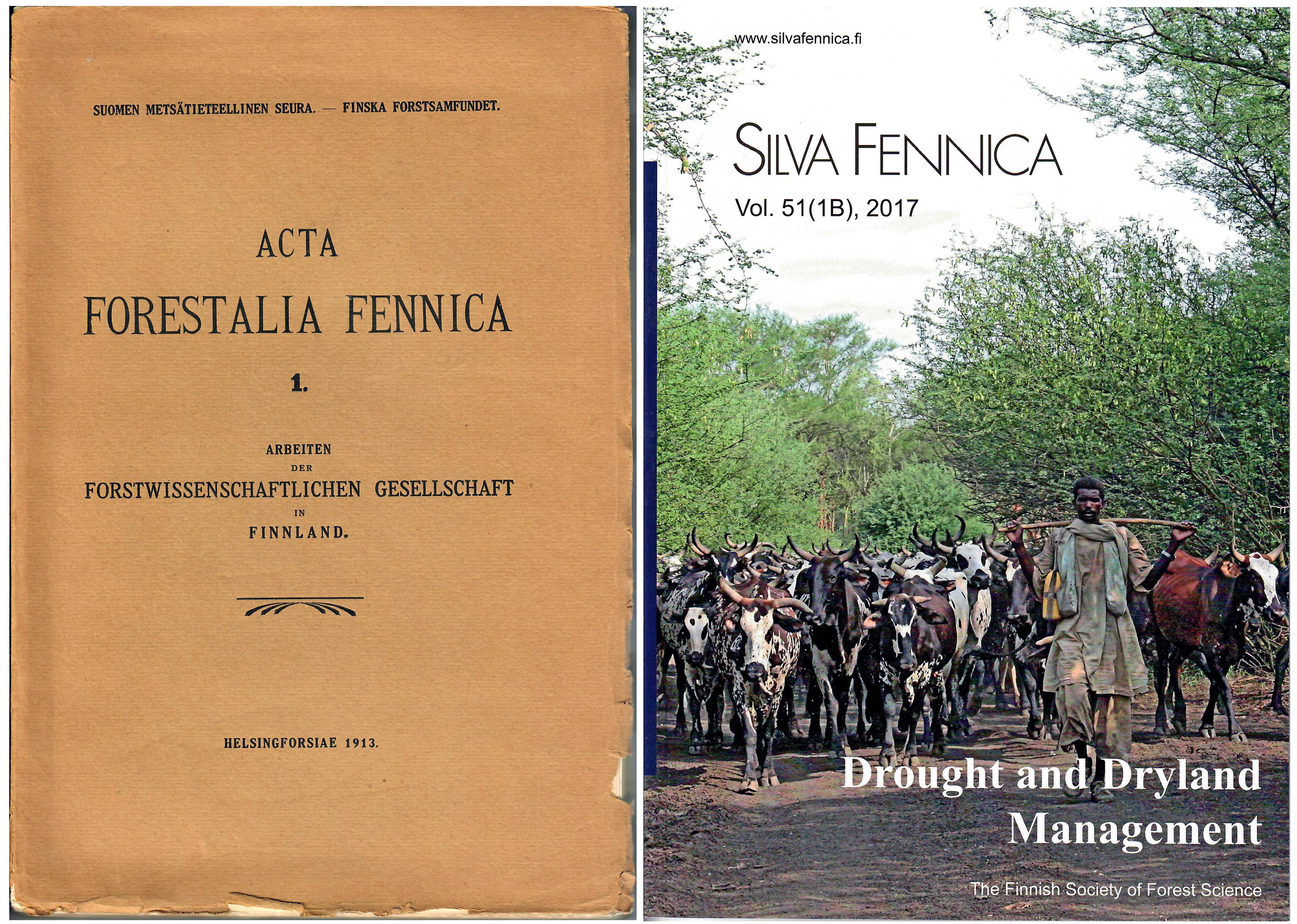 Pärmbilder på samfundets första vetenskapliga publikation och Silva Fennica.