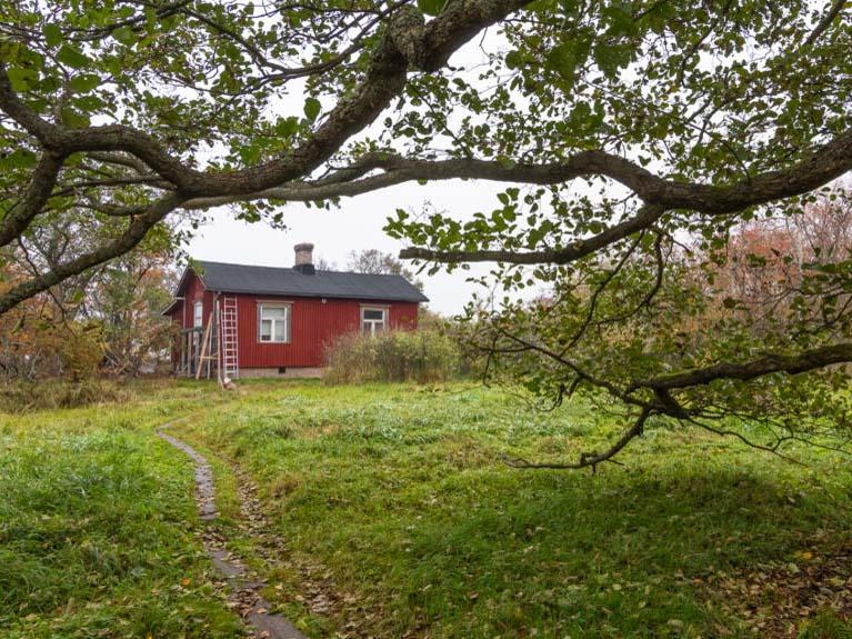 Hangö fågelstation. En röd stuga.