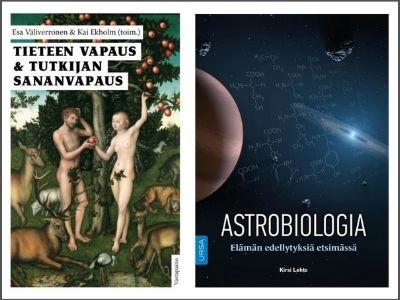 Kaksi kirjan kantta, Tieteen vapaus & tutkijan sananvapaus ja Astrobiologia.