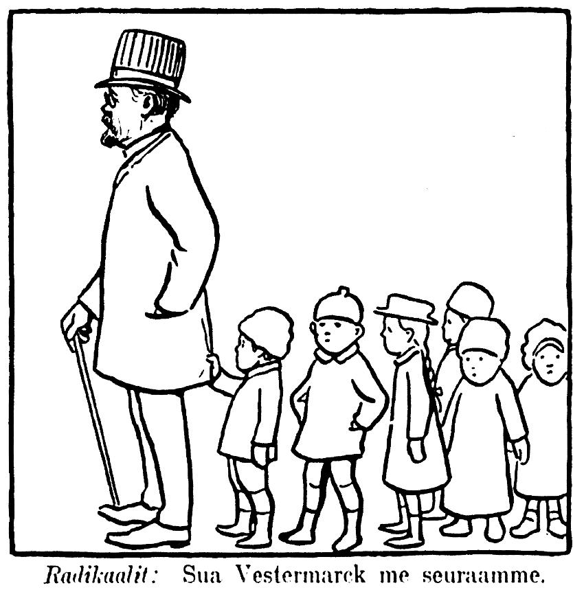 """Edvard Westermarck seisoo jonon ensimmäisenä ja hänen perässä lapset. Kuvan alla lukee teksti """"Radikaalit: Sua Vestermarck me seuraamme""""."""